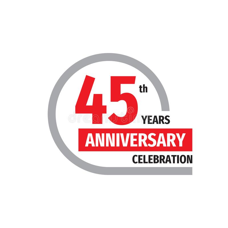 45th anniversary celebration badge logo design. Forty five years banner poster. royalty free illustration