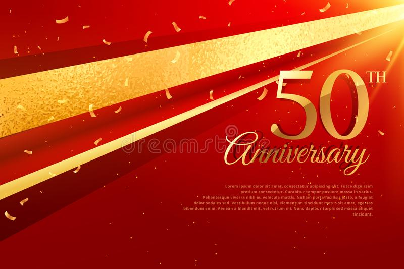 50th anniversary celebration card template. Vector royalty free illustration