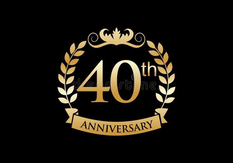40th, anniversary celebration luxury logo royalty free illustration