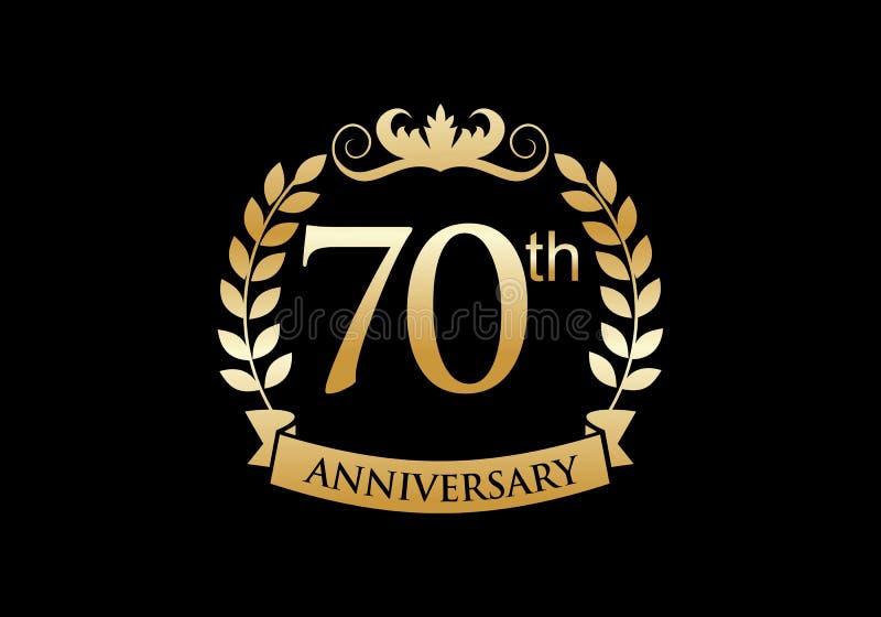 70th, anniversary celebration luxury logo royalty free illustration