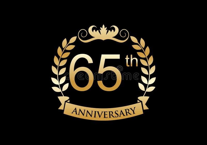 65th, anniversary celebration luxury logo vector illustration