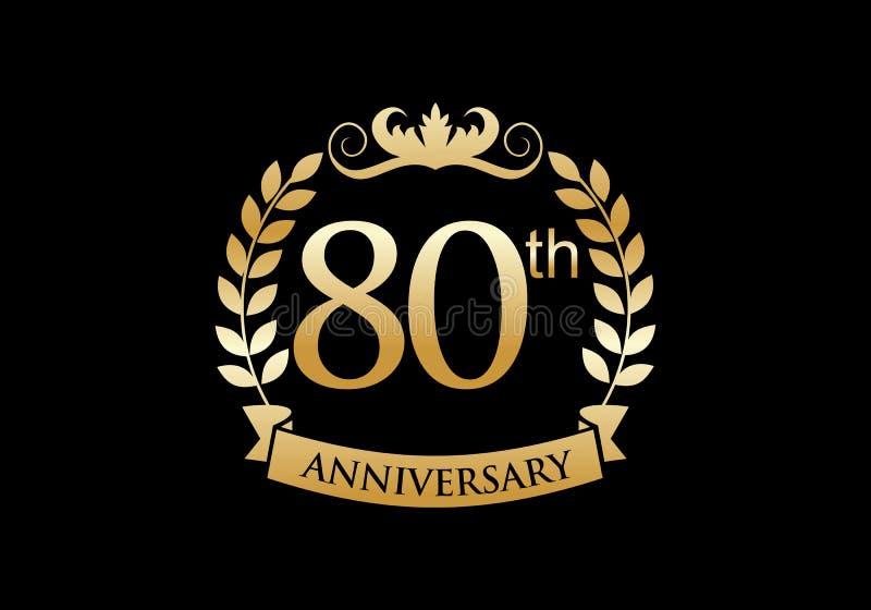 80th, anniversary celebration luxury logo vector illustration