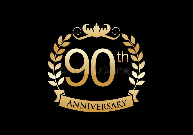90th, anniversary celebration luxury logo vector illustration