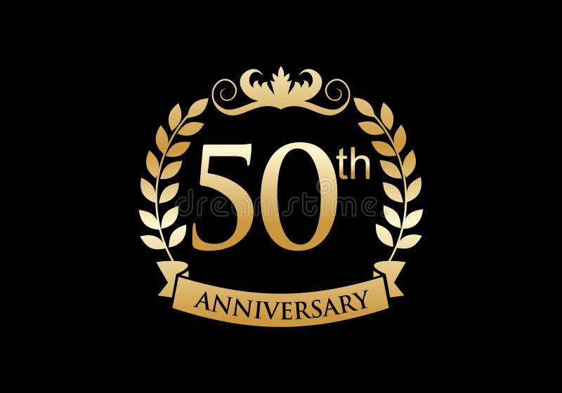 50th, anniversary celebration luxury logo stock illustration