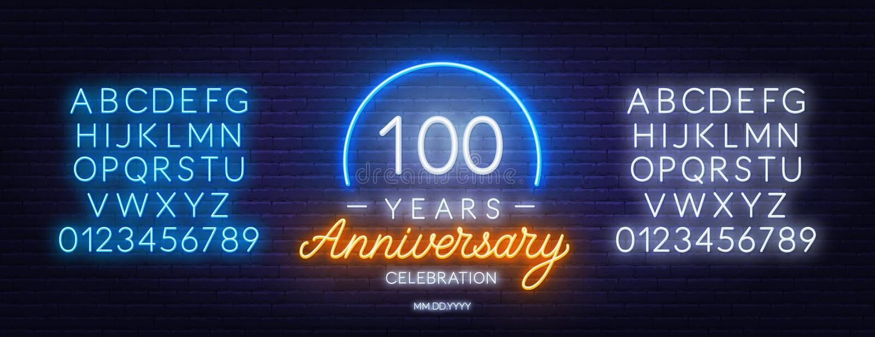 100th anniversary celebration neon sign on dark background. vector illustration