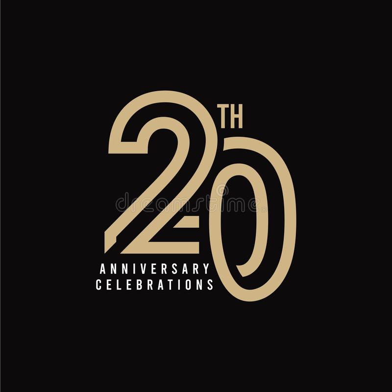 20 Th Anniversary Celebration Vector Template Design Illustration. 20th, years, logo, birthday, happy, number, card, icon, background, decoration, symbol royalty free illustration