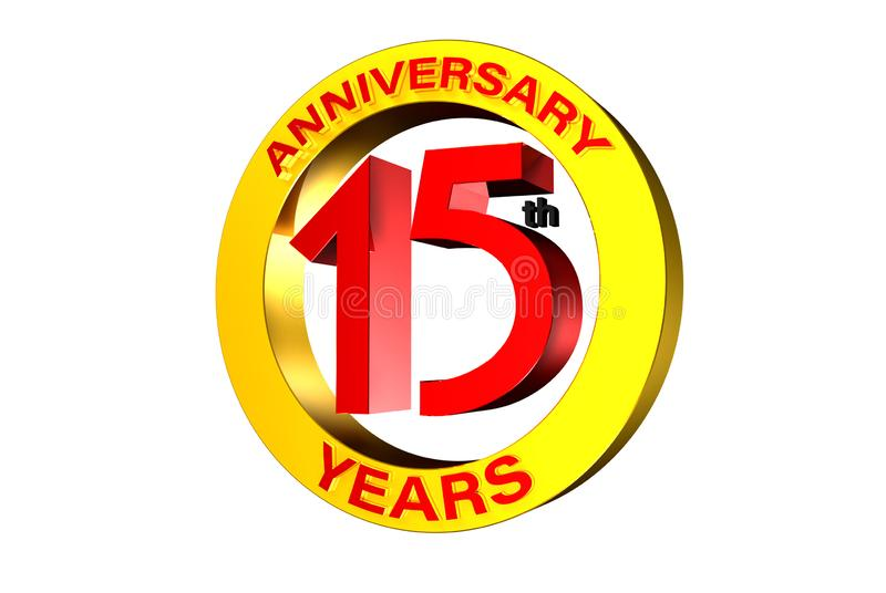 15 th anniversary 3D. 15 th anniversary 3d,15 years red white background stock illustration