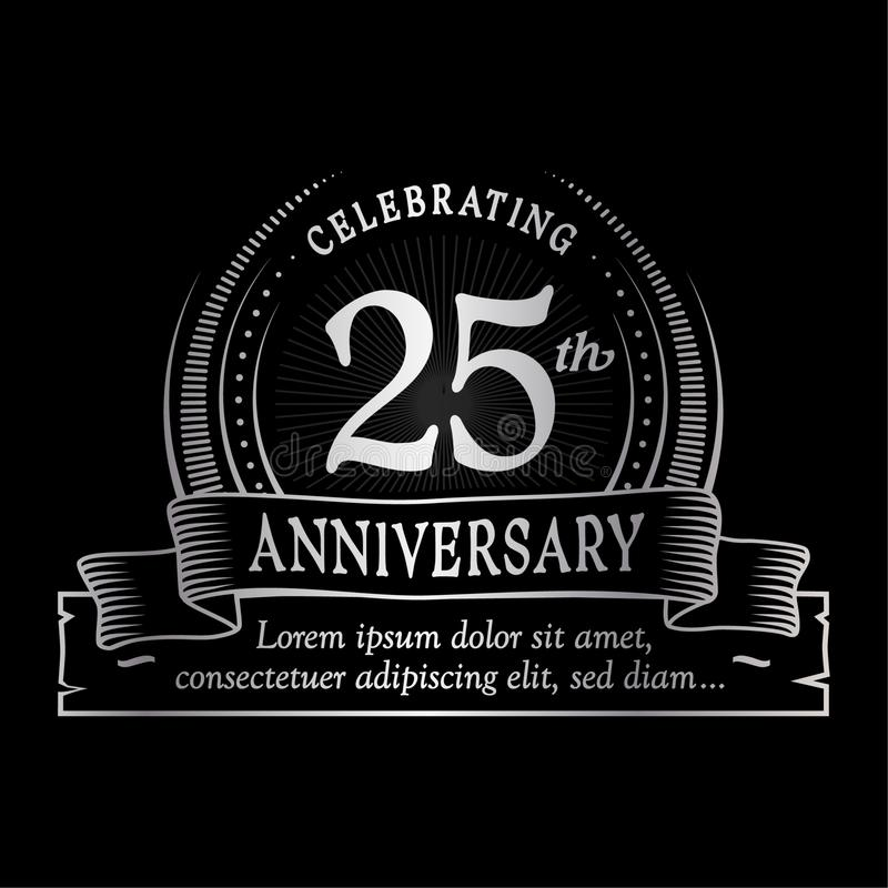 25th anniversary design template. 25 years logo. Twenty-five years vector and illustration. stock illustration