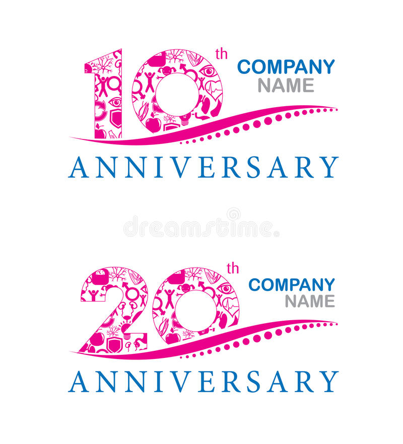 One Year Business Anniversary Quotes: Company Anniversary At 10 And 20 Years Stock Vector