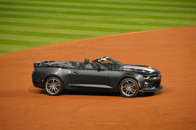 50th Anniversary Edition 2017 Camaro SS Convertible Awarded to 2016 World Series MVP. At the end of the 2016 World Series at Progressive Field in downtown royalty free stock photo