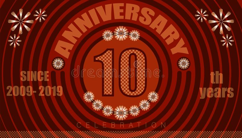10th anniversary emblems. vintage retro style. small to big circle from center. creative poster design. vector illustration eps10. 10th anniversary emblems vector illustration