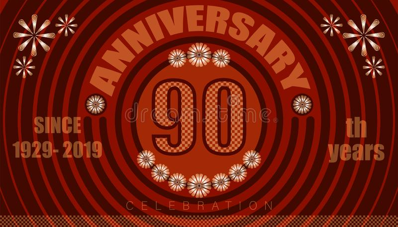 90th anniversary emblems. vintage retro style. small to big circle from center. creative poster design. vector illustration eps10. 90th anniversary emblems stock illustration