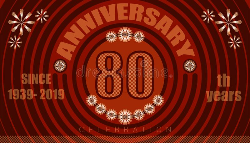 80th anniversary emblems. vintage retro style. small to big circle from center. creative poster design. vector illustration eps10. 80th anniversary emblems vector illustration