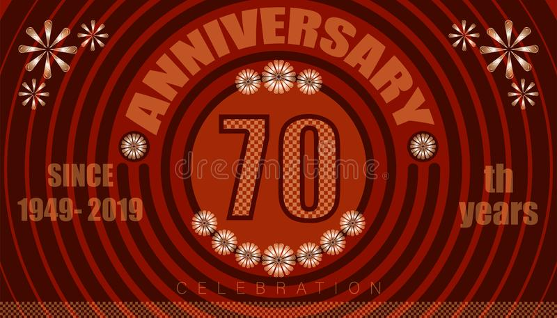 70th anniversary emblems. vintage retro style. small to big circle from center. creative poster design. vector illustration eps10. 70th anniversary emblems stock illustration