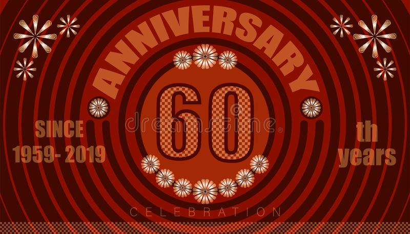 60th anniversary emblems. vintage retro style. small to big circle from center. creative poster design. vector illustration eps10. 60th anniversary emblems royalty free illustration