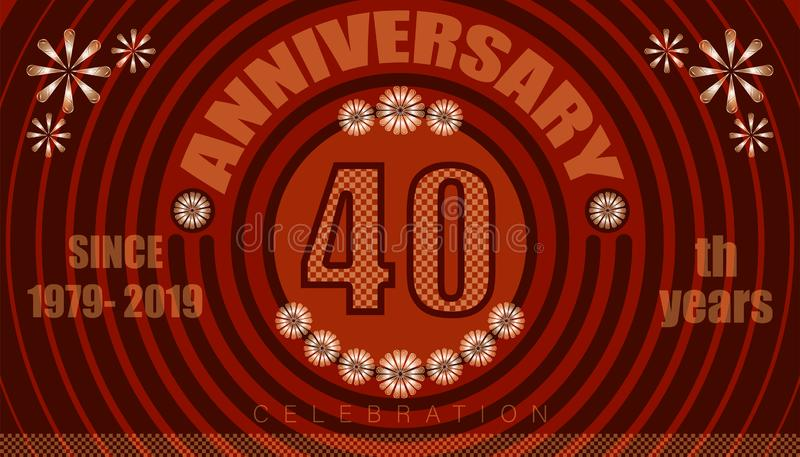 40th anniversary emblems. vintage retro style. small to big circle from center. creative poster design. vector illustration eps10. 40th anniversary emblems stock illustration