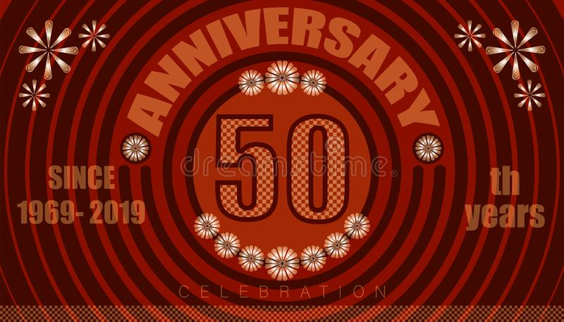 50th anniversary emblems. vintage retro style. small to big circle from center. creative poster design. vector illustration eps10. 50th anniversary emblems stock illustration