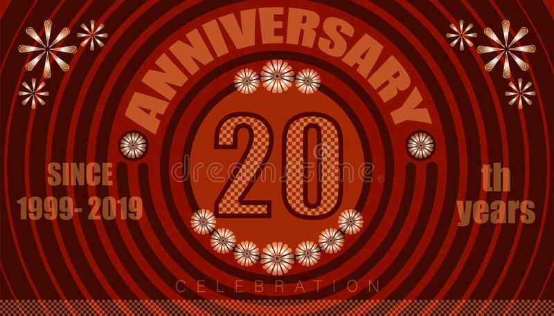 20th anniversary emblems. vintage retro style. small to big circle from center. creative poster design. vector illustration eps10. 20th anniversary emblems royalty free illustration