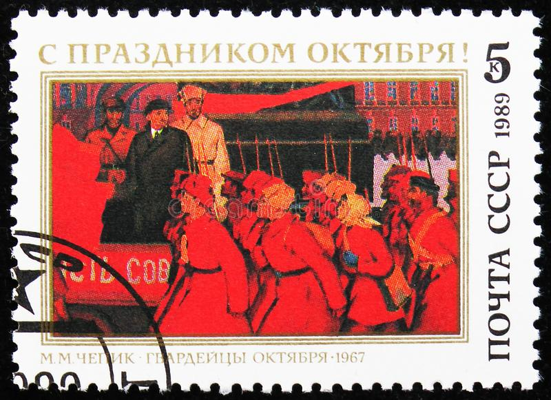 72th Anniversary of Great October Revolution, circa 1989. MOSCOW, RUSSIA - AUGUST 31, 2019: Postage stamp printed in Soviet Union (Russia) devoted to 72th royalty free stock photos