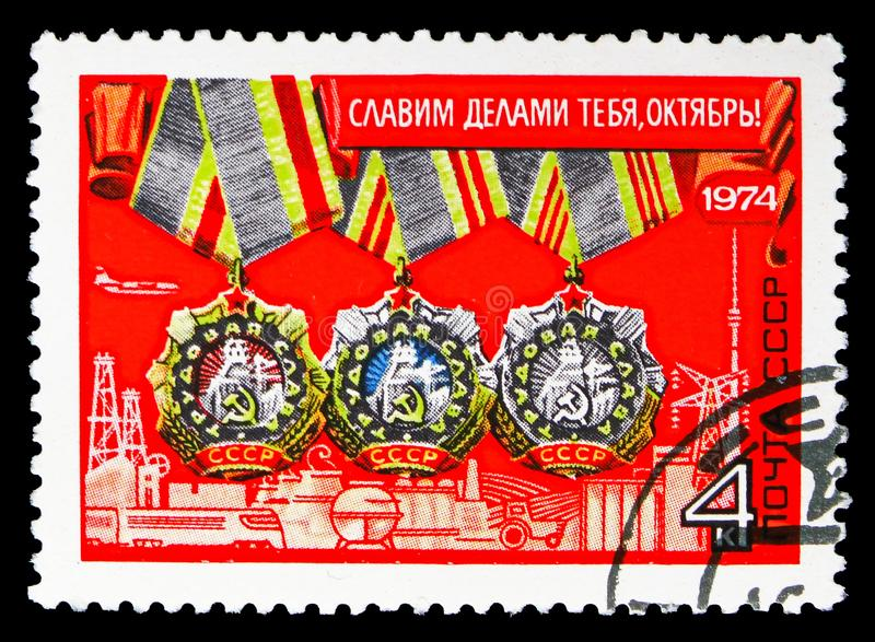 57th anniversary of Great October Revolution, October revolution serie, circa 1974. MOSCOW, RUSSIA - OCTOBER 21, 2018: A stamp printed in USSR (Russia) devoted stock images