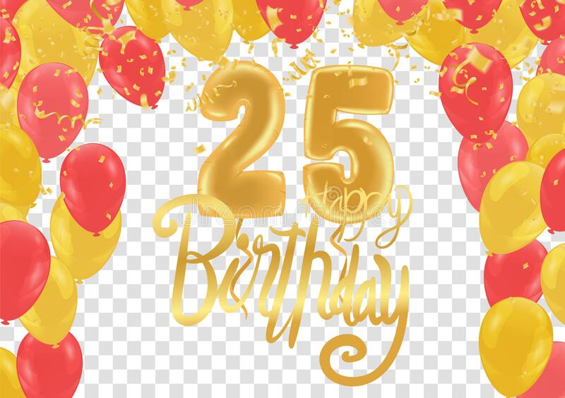 25th anniversary happy birthday party gold balloons celebration background template royalty free illustration