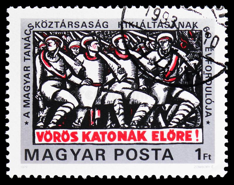 60th anniversary of Hungarian Soviet Republic, Founding of the Socialist Republic serie, circa 1979. MOSCOW, RUSSIA - FEBRUARY 9, 2019: A stamp printed in stock photography