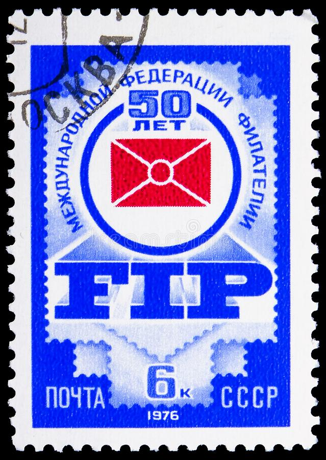 50th Anniversary of International Philatelic Federation, serie, circa 1976. MOSCOW, RUSSIA - JUNE 19, 2019: Postage stamp printed in Soviet Union USSR devoted to royalty free stock image