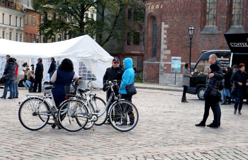On 75th Anniversary of John Lennon festival in Riga. Bakers visit the Tribute festival 75th Anniversary of John Lennon in Riga, Latvia stock images