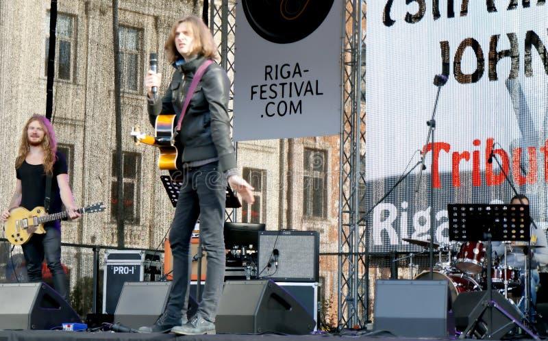On 75th Anniversary of John Lennon festival in Riga. Interaction on the Tribute festival 75th Anniversary of John Lennon in Riga, Latvia royalty free stock image