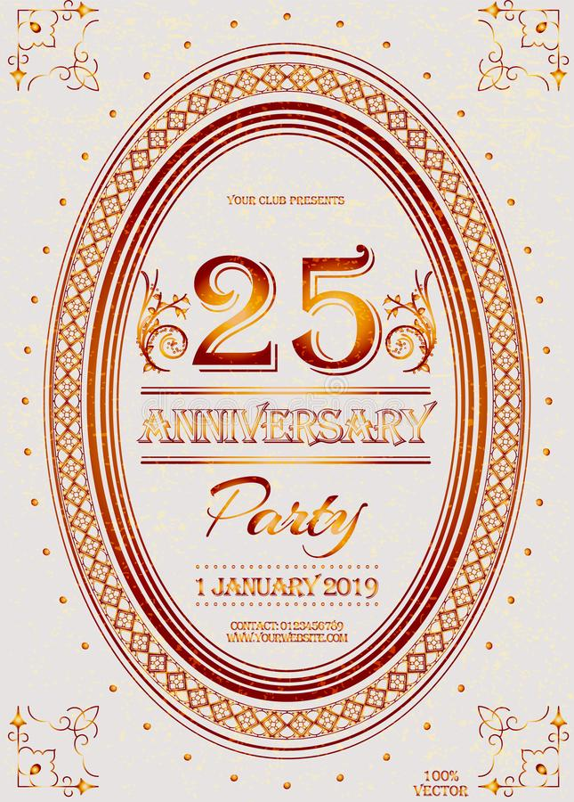 25th-anniversary logo with ornament, floral wreath, and lettering on a white grunge background. royalty free illustration