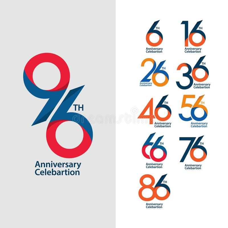 96 th Anniversary Set Celebration Vector Template Design Illustration. 96th logo years birthday symbol number icon emblem background jubilee element wedding vector illustration