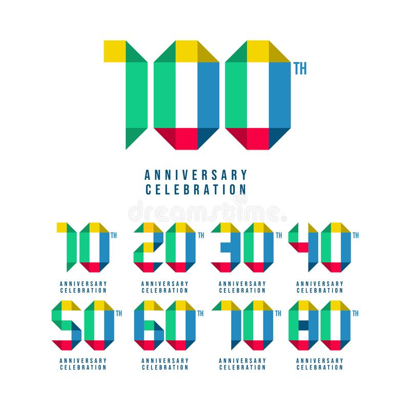 100 Th Anniversary Set Celebration Vector Template Design Illustration. 100th, years, logo, birthday, happy, number, card, icon, background, decoration, symbol stock illustration