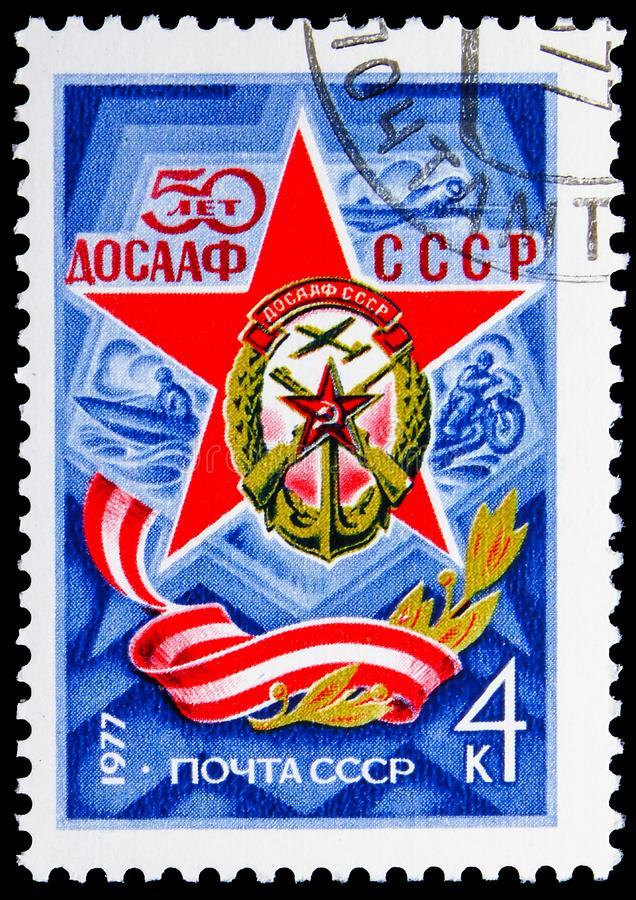 50th Anniversary of Soviet Forces Society, Anniversaries serie, circa 1977. MOSCOW, RUSSIA - JUNE 19, 2019: Postage stamp printed in Soviet Union USSR devoted to royalty free stock images