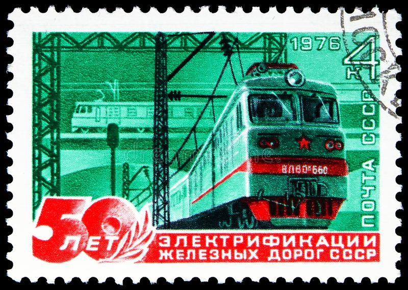50th Anniversary of Soviet Railway Electrification, Anniversaries serie, circa 1976. MOSCOW, RUSSIA - JUNE 19, 2019: Postage stamp printed in Soviet Union USSR stock image