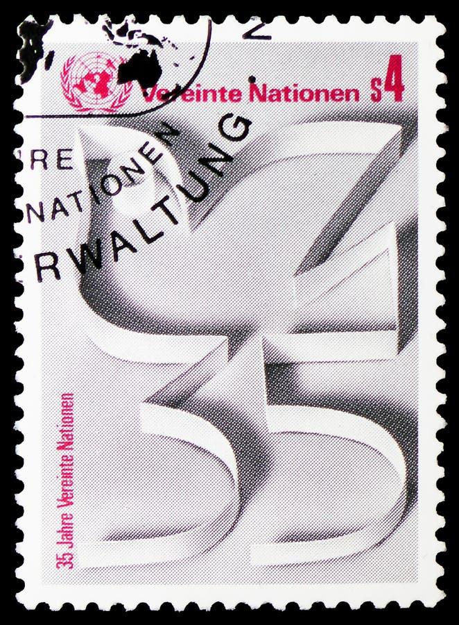 35th Anniversary U.N.O., serie, circa 1980 royalty free stock image
