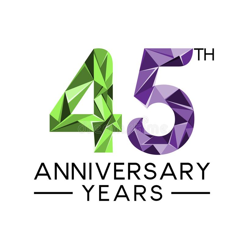 45th anniversary years abstract triangle modern full col vector illustration