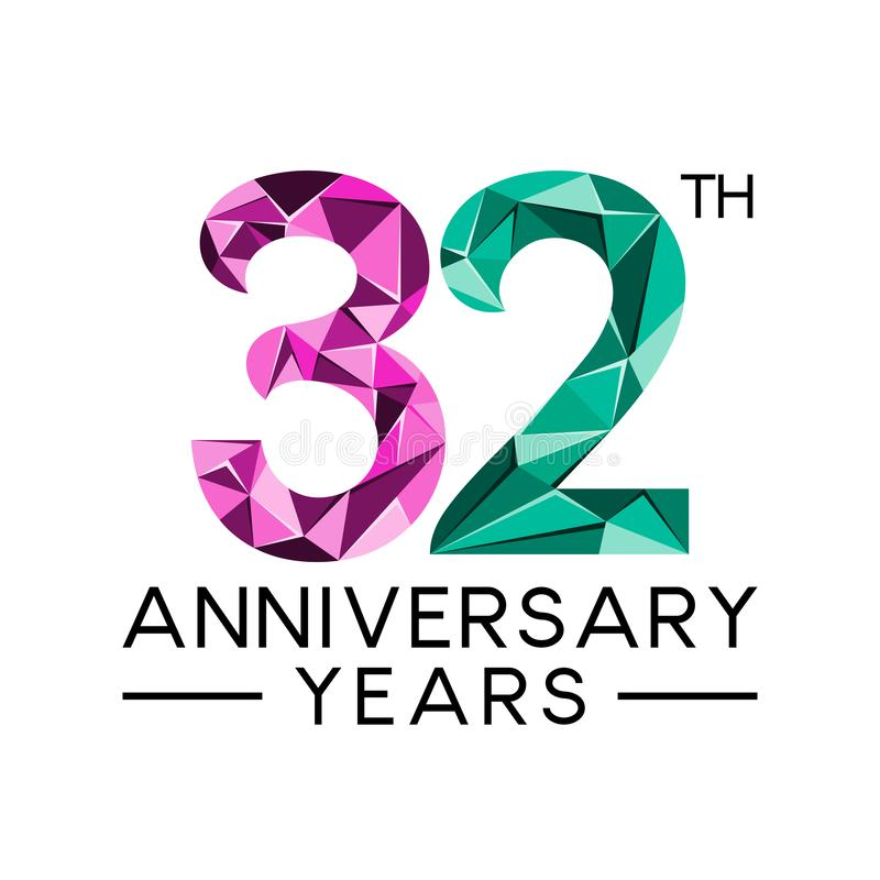 32th anniversary years abstract triangle modern full colo. R. celebration logo vector royalty free illustration