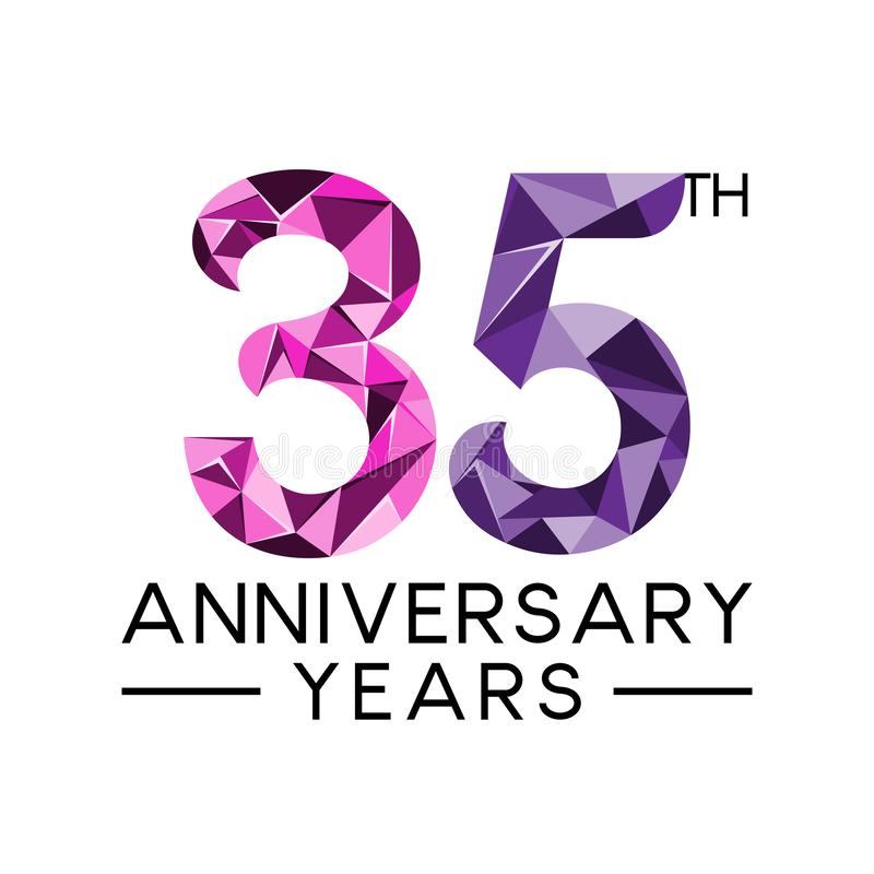 35th anniversary years abstract triangle modern full colo. R. celebration logo vector vector illustration