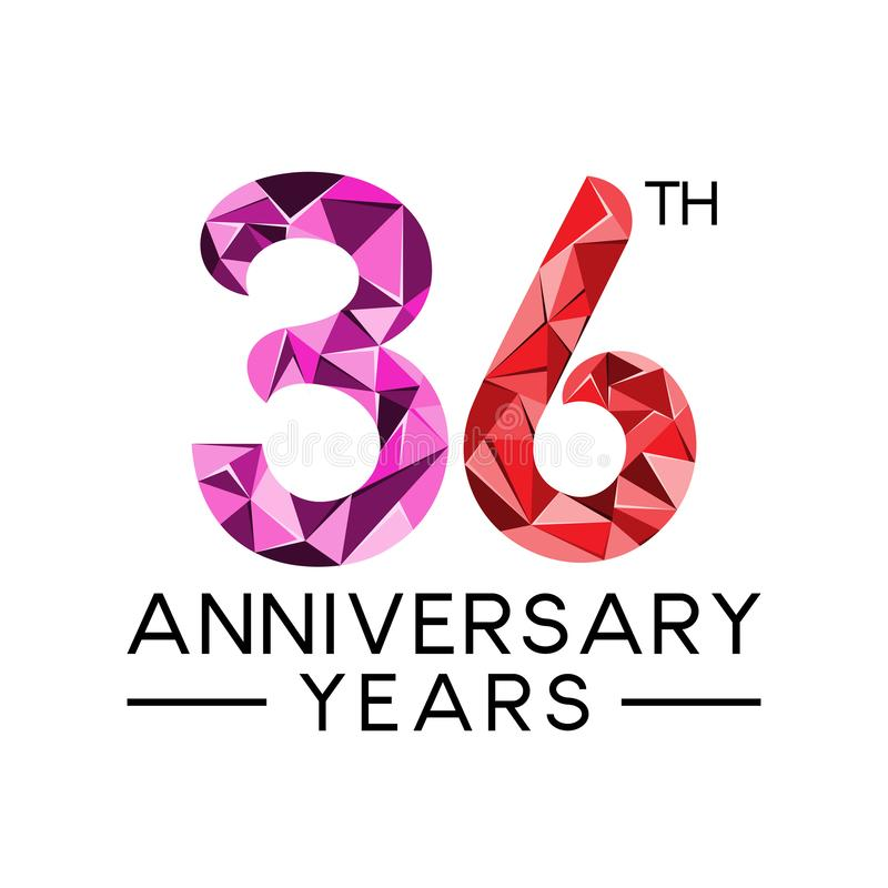 36th anniversary years abstract triangle modern full colo. R. celebration logo vector royalty free illustration