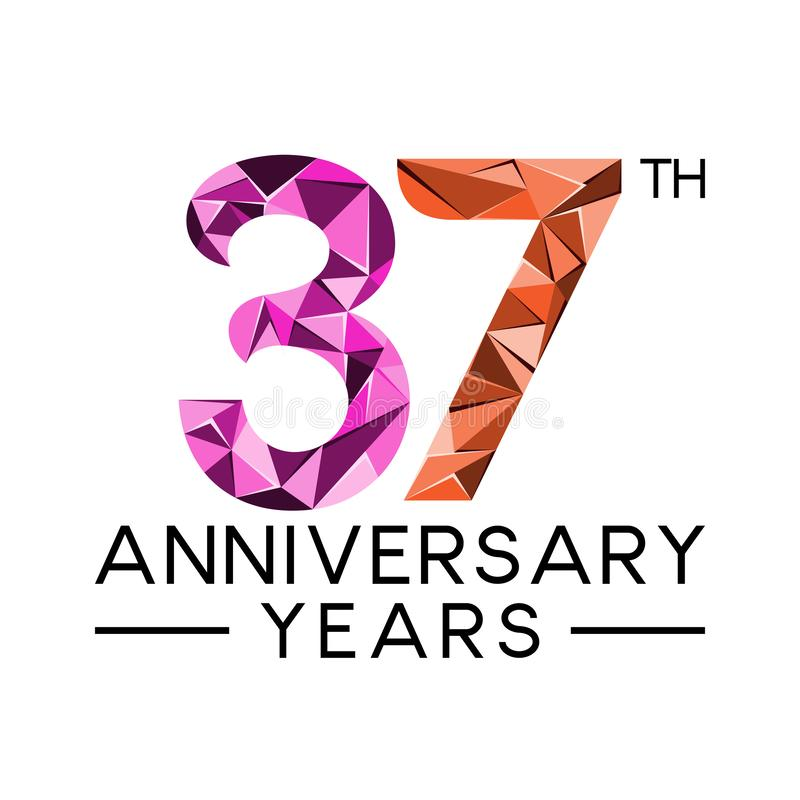 37th anniversary years abstract triangle modern full colo. R. celebration logo vector stock illustration