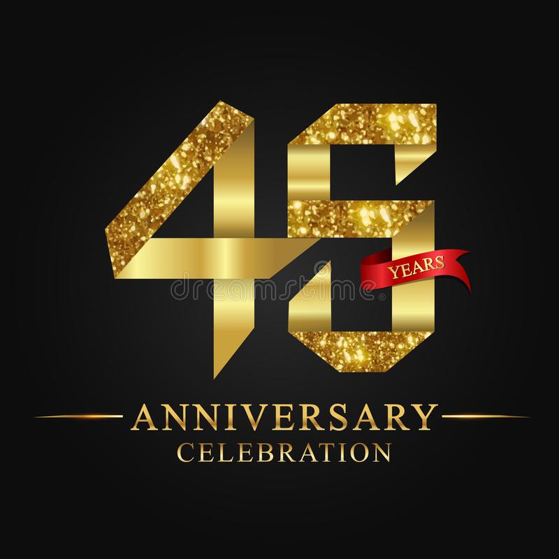 45th anniversary years celebration logotype. Logo ribbon gold number and red ribbon on black background. vector illustration