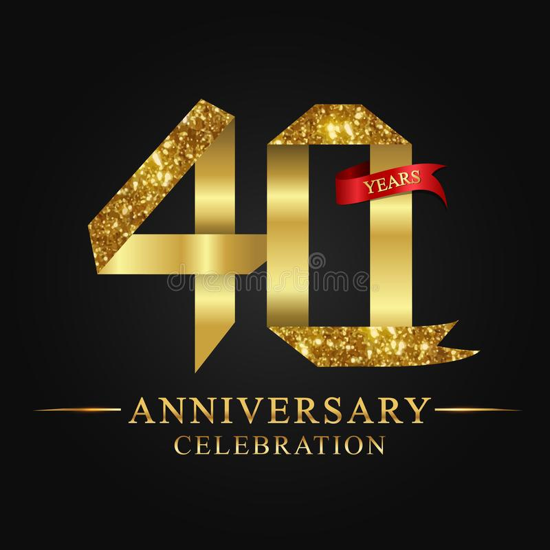 40th anniversary years celebration logotype. Logo ribbon gold number and red ribbon on black background. royalty free illustration