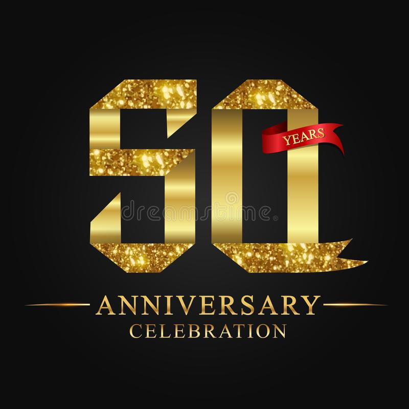 50th anniversary years celebration logotype. Logo ribbon gold number and red ribbon on black background. vector illustration