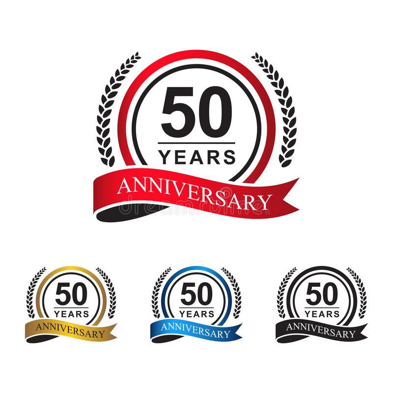 50th anniversary years circle ribbon. Laurel wreath. celebration logo vector red, blue, gold, black color stock illustration
