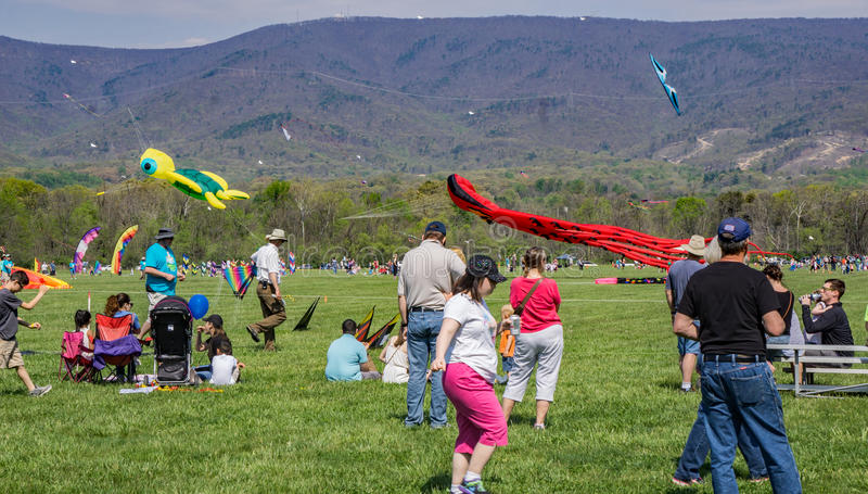 19th Annual Blue Ridge Kite Festival. Salem, Virginia, USA – April 15th: 19th Annual Blue Ridge Kite Festival at Green Hill Park located in Salem stock image