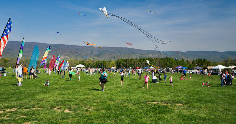 19th Annual Blue Ridge Kite Festival. Salem, Virginia, USA – April 15th: 19th Annual Blue Ridge Kite Festival at Green Hill Park located in Salem royalty free stock images