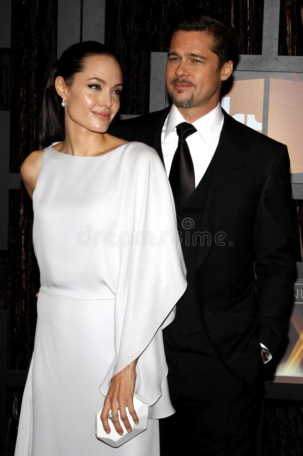 14th Annual Critics` Choice Awards. Angelina Jolie and Brad Pitt at the 14th Annual Critics` Choice Awards held at the Santa Monica Civic Center in Santa Monica royalty free stock photo