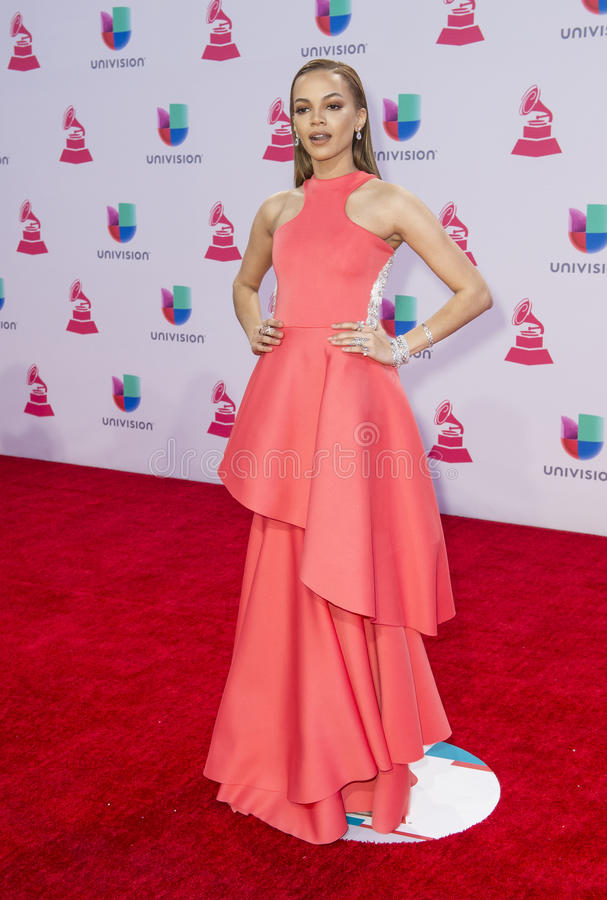 The 16th Annual Latin GRAMMY Awards. LAS VEGAS , NOV 19 : Singer Leslie Grace attends the 16th Annual Latin GRAMMY Awards on November 19 2015 at the MGM Grand royalty free stock images
