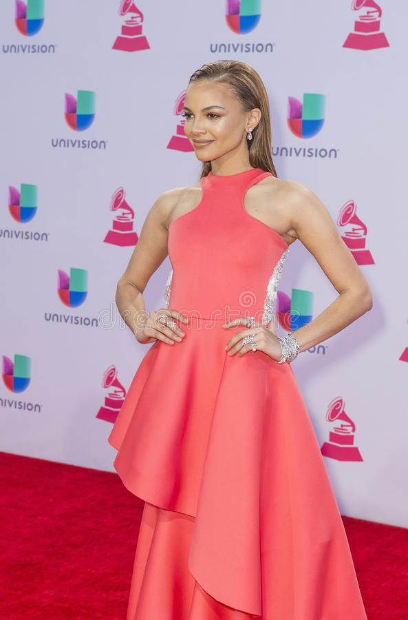 The 16th Annual Latin GRAMMY Awards. LAS VEGAS , NOV 19 : Singer Leslie Grace attends the 16th Annual Latin GRAMMY Awards on November 19 2015 at the MGM Grand stock image