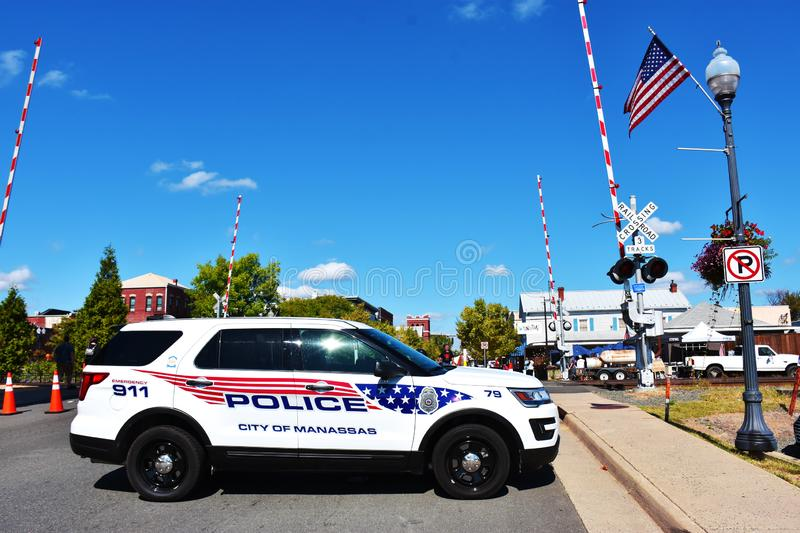 Police car in Manassas, Virginia, USA. 37th Annual Manassas Fall Jubilee, Manassas, Virginia, USA, October 5, 2019 royalty free stock images